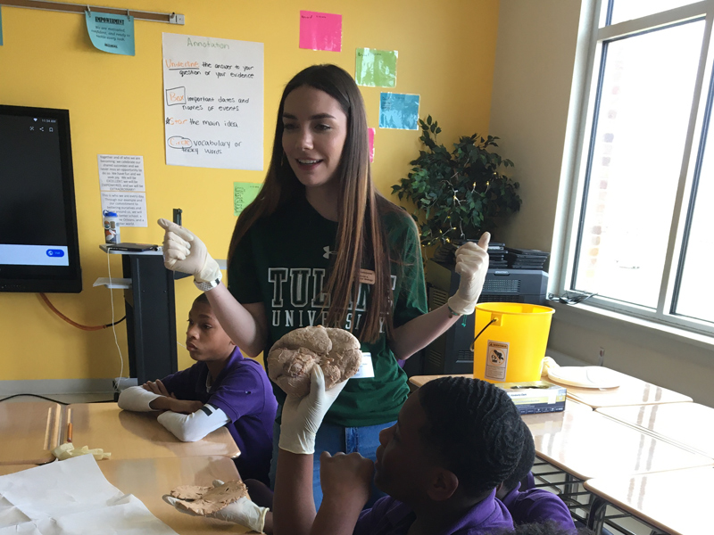Undergraduate service learning student teaching students about the brain