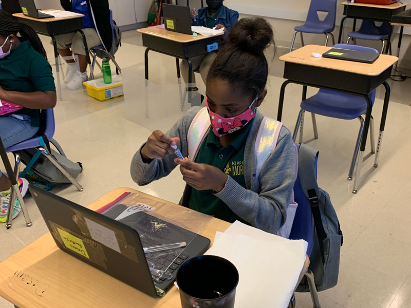 Middle school female student doing a virtual science activity, experimenting with yeast
